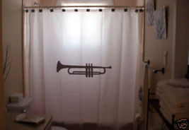 SHOWER CURTAIN music Trumpet instrument brass wind - $65.00