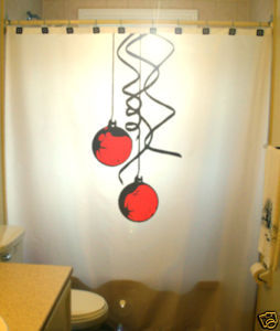 Christmas SHOWER CURTAIN Baubles Balls Tree Ornament