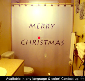Christmas SHOWER CURTAIN Merry Holiday Wish Joyeux Noel
