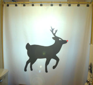 Christmas SHOWER CURTAIN Reindeer Rudolph Red Nose Fly