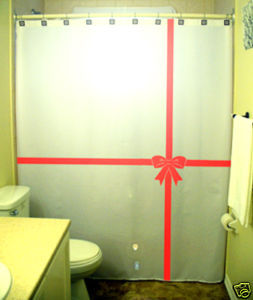 Christmas SHOWER CURTAIN Red Ribbon Bow Tie Gift Wrap