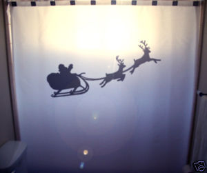 Christmas SHOWER CURTAIN Santa's Sleigh Reindeer Flying
