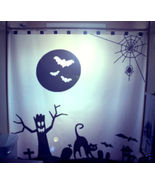 Halloween SHOWER CURTAIN Black Cat Bats Graveyard Ghoul - $99.99