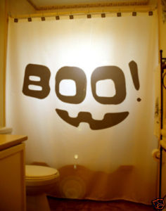 Halloween SHOWER CURTAIN Boo! Scary Smiley Happy Face