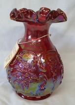 Fenton 2000 Red Carnival Glass Vase - $65.23