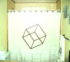 SHOWER CURTAIN Cube 3D square regular hexahedron cubism - $65.00
