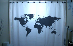 SHOWER CURTAIN Earth World Map our planet space view