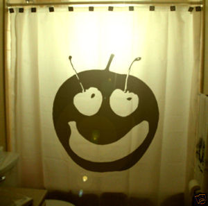 SHOWER CURTAIN Fruit Grin & Bear It apple cherry banana