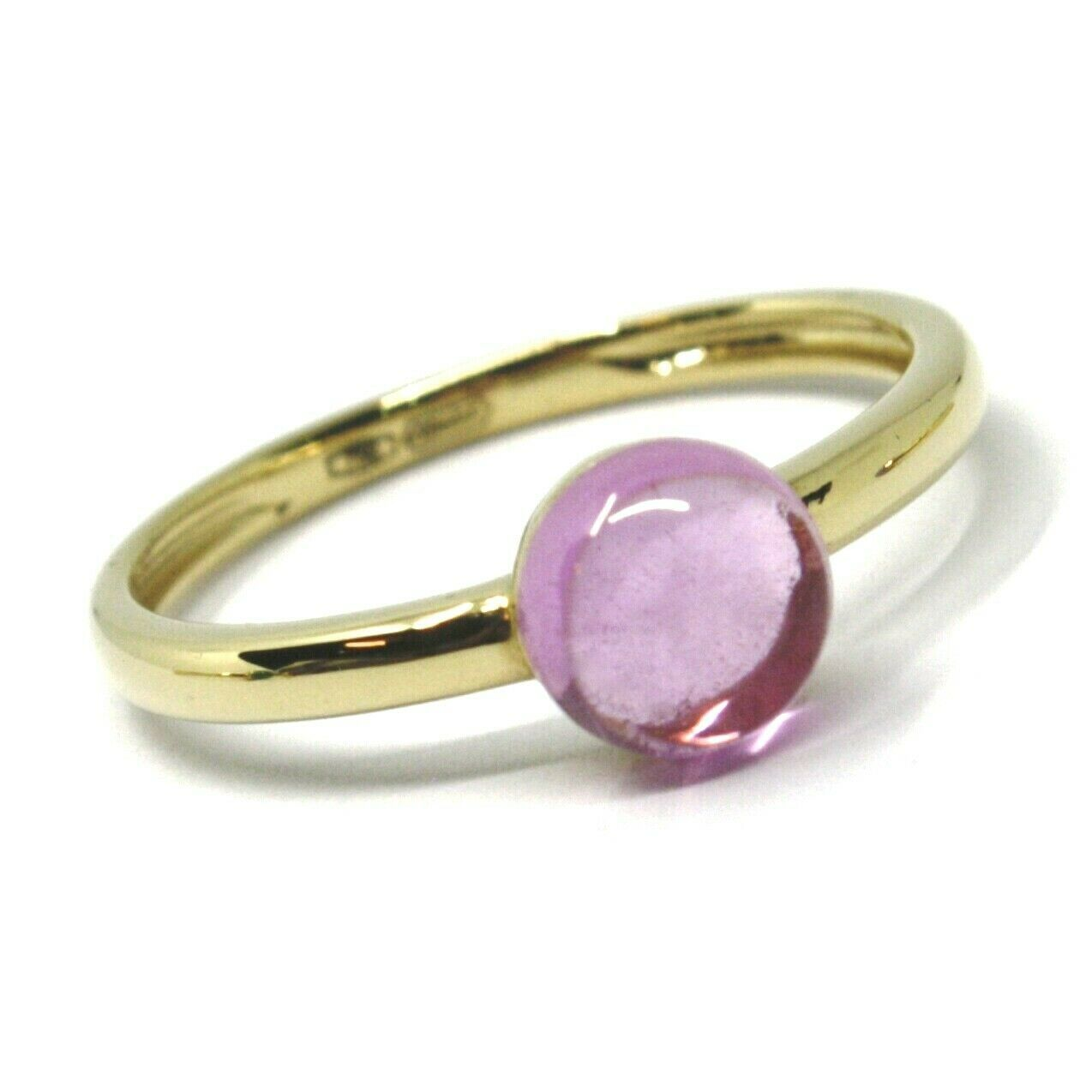 SOLID 18K YELLOW GOLD RING, CABOCHON CENTRAL PINK TOURMALINE, DIAMETER 6mm