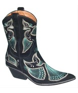 Donald Pliner Western Couture Black Suede Peace Boot Shoe New Intricate NIB $625 - $250.00