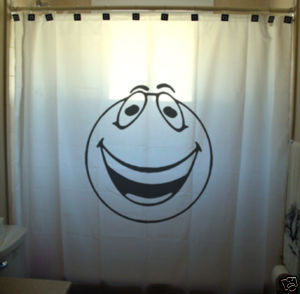 SHOWER CURTAIN humor funny Smiley face not yellow happy