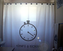 SHOWER CURTAIN humor Times a Tickin' Stopwatch rush go! - $65.00