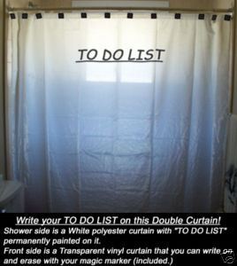 SHOWER CURTAIN interactive TO DO LIST with Magic Marker