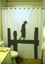 SHOWER CURTAIN Old Asian Man on Myanmar Bridge Burma - $79.99