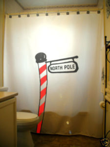 Christmas SHOWER CURTAIN North Pole Sign Candy Cane red