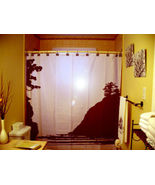 SHOWER CURTAIN Beach scene ocean sand palm tree sun - $68.00