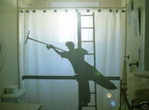 SHOWER CURTAIN funny Window Cleaner squeegee ladder man
