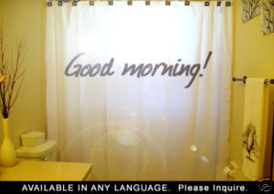 SHOWER CURTAIN humor funny GOOD MORNING! wake up call