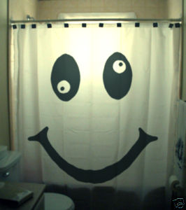 SHOWER CURTAIN humor funny Smiley face happy wacky eyes