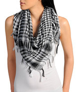 New Womens Houndstooth Black & White Plaid Fringed Scarf Fun Fashion  - $7.99
