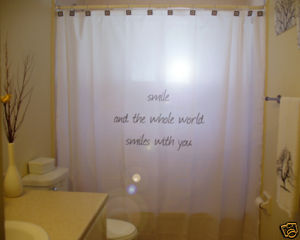 SHOWER CURTAIN inspire Smile & Whole World Smiles w You