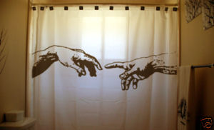 SHOWER CURTAIN Michelangelo HAND OF GOD Adam Creation