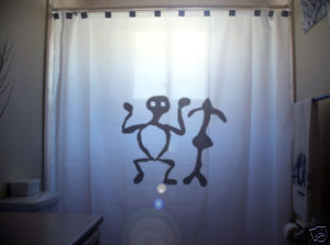 SHOWER CURTAIN Prehistoric Man Petroglyph rock carving