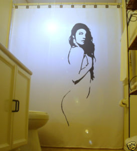 SHOWER CURTAIN Sexy Nude Female Pin Up Holding Breast