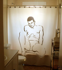 SHOWER CURTAIN Sexy Nude Naked Male Man in Underwear