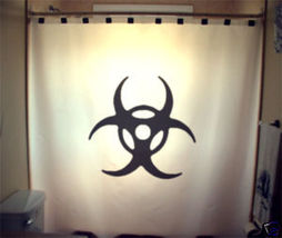 SHOWER CURTAIN sign Biohazard Warning trefoil Chemical - $65.00
