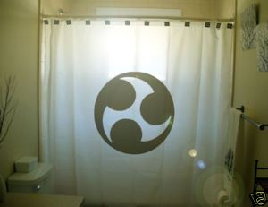 SHOWER CURTAIN sign fire wheel disc circle symmetry