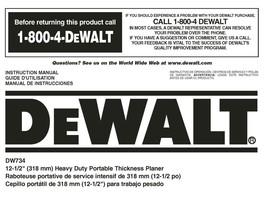 """Dewalt 12 1/2"""" Planer Instruction Manual Model #DW734 - $10.88"""