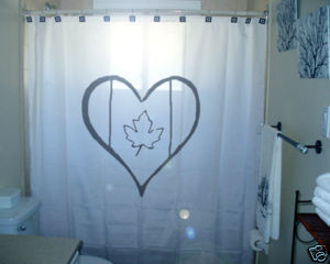 SHOWER CURTAIN We Love Canada Day flag maple leaf