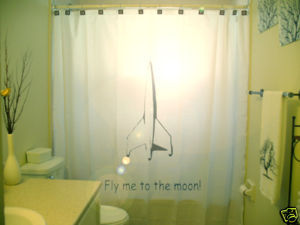 SHOWER CURTAIN romance Fly Me To The Moon rocket ship