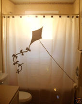 SHOWER CURTAIN Kite flying fly paper flyer line tail - $65.00