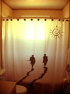SHOWER CURTAIN Surfing Day Ends Into the Sunset surfers