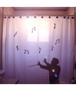 SHOWER CURTAIN Music Conductor Maestro treble clef note - $79.99