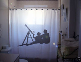 SHOWER CURTAIN astronomy star gazers watcher telescope - $68.00