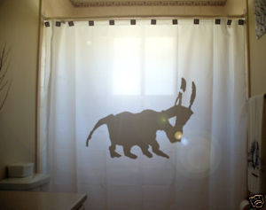 SHOWER CURTAIN animal Bull prehistoric drawing cow horn
