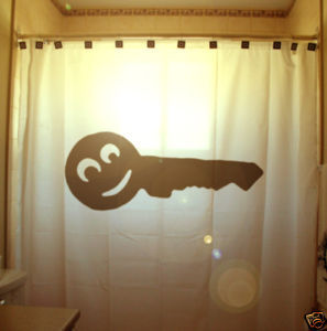 SHOWER CURTAIN Smiley Face Key door lock open remember