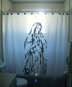 SHOWER CURTAIN Virgin Mary Christian Christ Holy Jesus