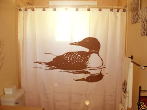 SHOWER CURTAIN Loon Loons Goose Duck Bird divers Loonie