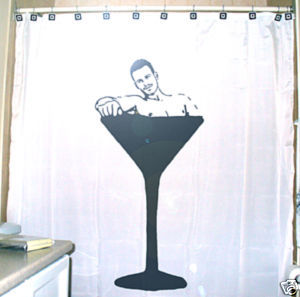 SHOWER CURTAIN Sexy Nude Naked Male Man Martini Glass