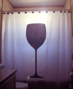 SHOWER CURTAIN Wine Glass drink red not bottle crystal