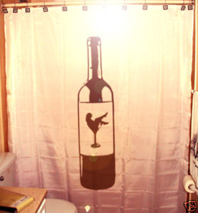 SHOWER CURTAIN Sexy Female Martini Girl on Wine bottle