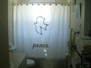 SHOWER CURTAIN sign Dove of Peace symbol olive branch