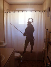 SHOWER CURTAIN Japanese warrior Samurai sword helmet - $65.00
