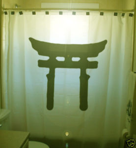 SHOWER CURTAIN monument Shinto Shrine gate sign Japan