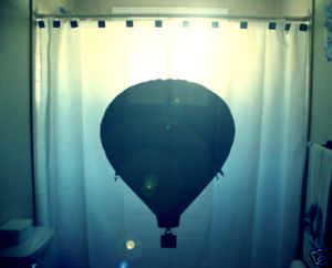 SHOWER CURTAIN Hot Air Balloon gondola basket flight