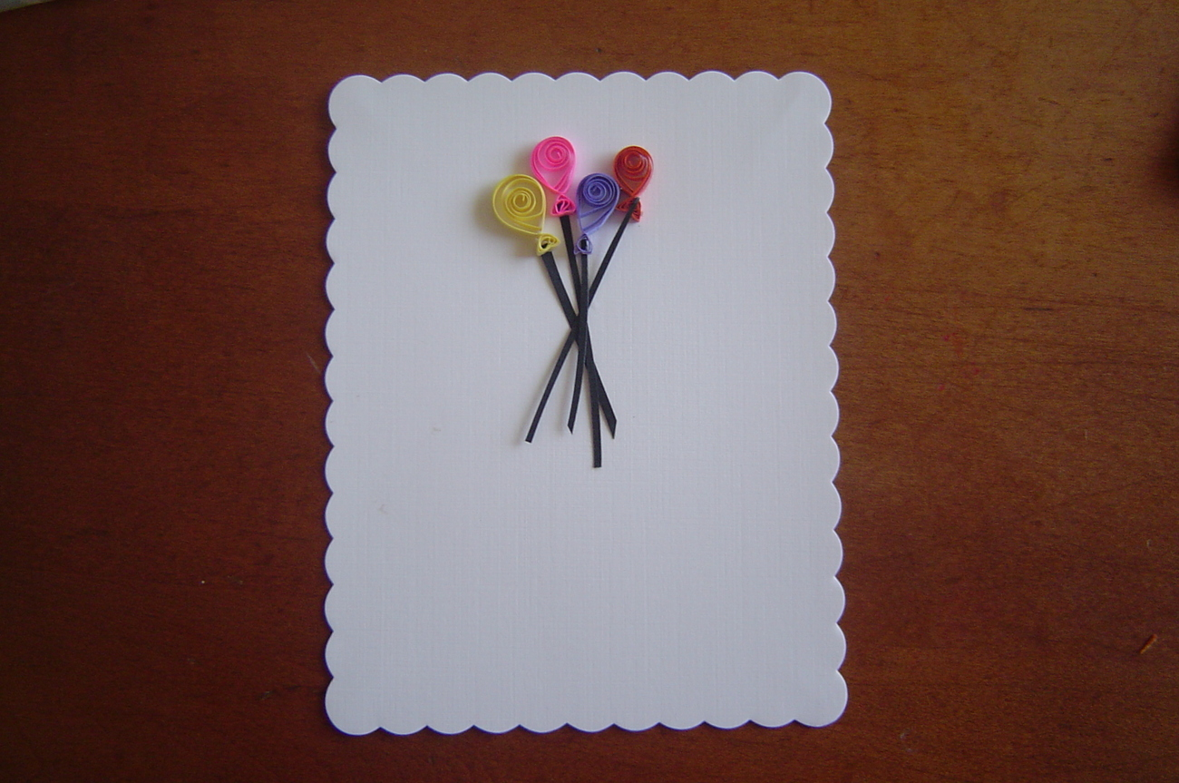 White Handcrafted Paper Quill Balloon Card